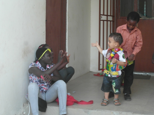 sõbrad, pidu, aafrika, ghana, lapsed, sünnipäev